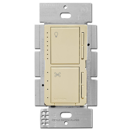 Stacked Fan Speed Switch + CFL LED Dimmer Lutron Maestro - Ivory