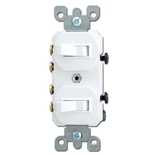 White Duplex Switch with 2 3-Way Toggles