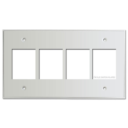 Touch Plate Classic 4-Gang Low Voltage Switch Wall Plate - White