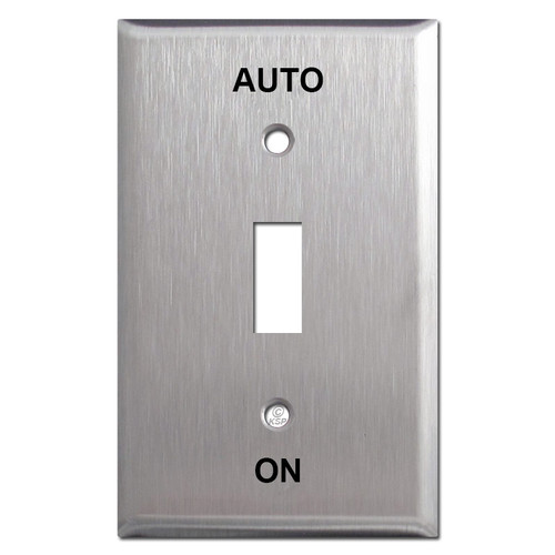 Engraved AUTO / ON Toggle Plates for Locking Key Switch