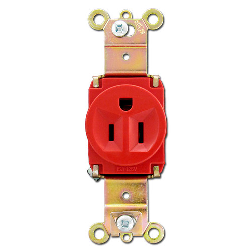 15A Red Single Round Outlet Receptacle