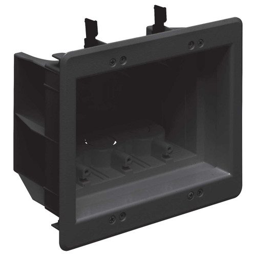 Inset 3-Gang Electric Box for Pushed-Back Outlets & Cables - Black