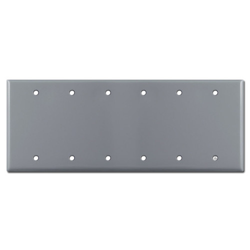 6 Blank Wall Switch Plate Covers - Gray