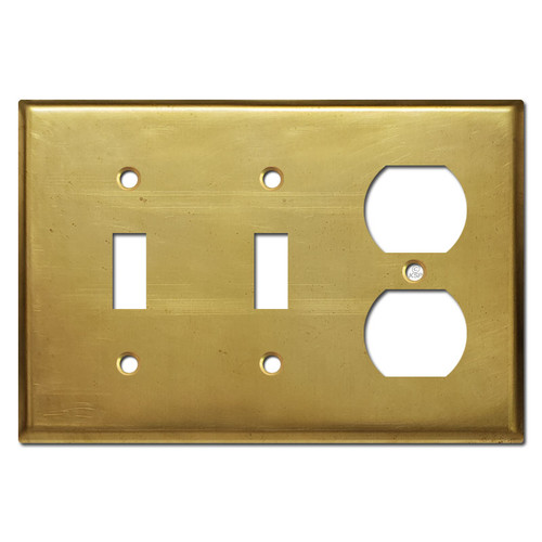 1-Duplex Outlet 2-Toggle Wall Plate - Unfinished Raw Brass