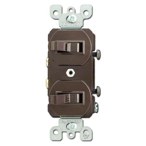 Brown 20A Duplex Device with 2 Toggle Switches
