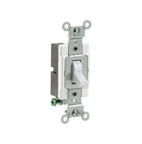 White Toggle Light Switch 15A Leviton Commercial Spec Grade