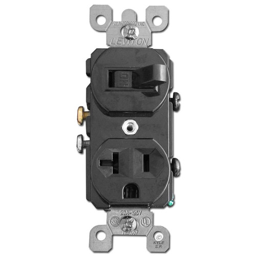 Black 20A Duplex Receptacle and Horizontal Toggle Switch Combo