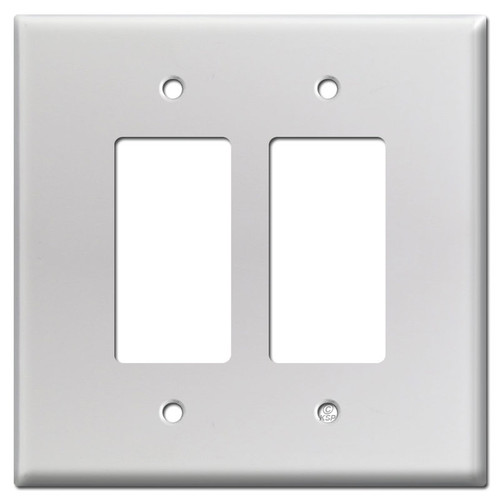 Oversized 2 Decora Rocker Outlet Wall Plates - Brushed Aluminum