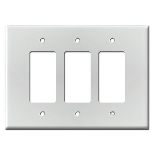Oversized 3 Decora GFCI Rocker Switch Plate - Brushed Aluminum