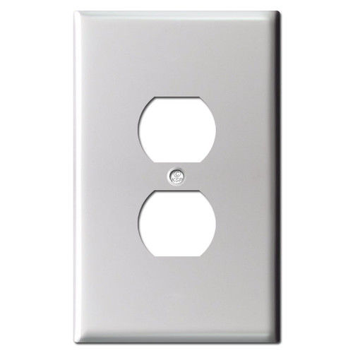 Jumbo Duplex Electrical Outlet Cover - Brushed Aluminum