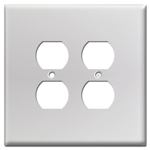 Oversized 2-Gang 4-Plug Receptacle Plate - Brushed Aluminum