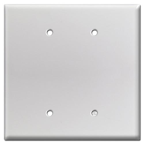 Oversized Double Blank Light Switch Plate - Brushed Aluminum