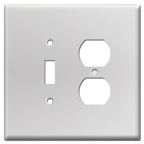 Oversized Receptacle Toggle Switch Cover Plate - Brushed Aluminum
