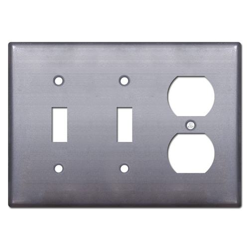 1 Duplex Outlet 2 Toggle Cover Plate - Unfinished Steel