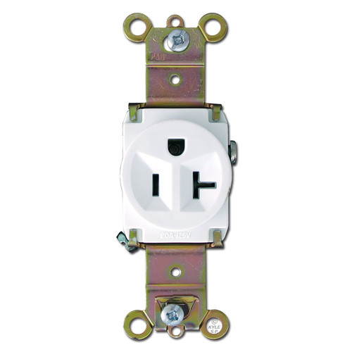 White Round 20A Single Electrical Receptacle