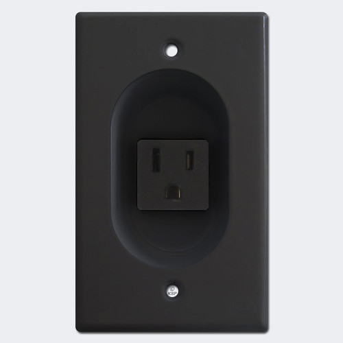 Recessed 15A Electrical Outlet Plug for Wall - Black