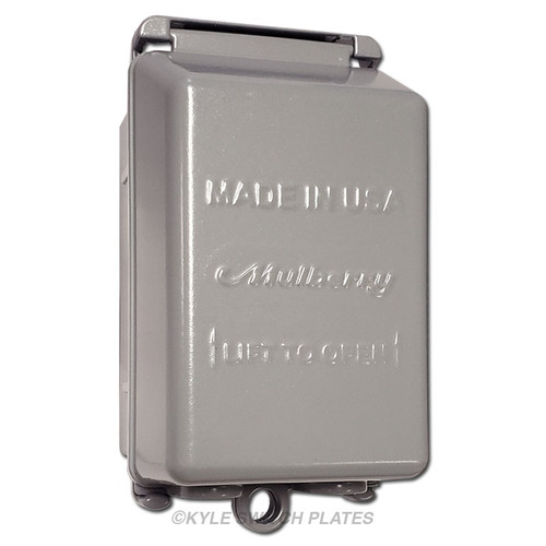 Vertical In-Use Lockable Outdoor Outlet Cover - Gray