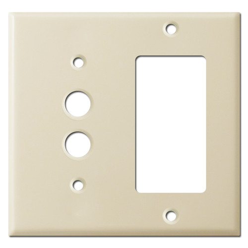 Pushbutton Switch + GFI Electrical Wall Plate - Ivory
