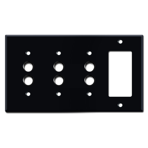 Decora Electrical Outlet + 3 Push Button Switch Plate - Black