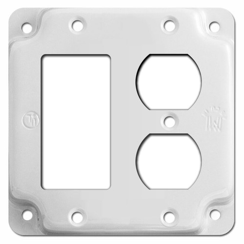 Duplex Outlet + Decora GFCI Rocker Utility Box Cover - White