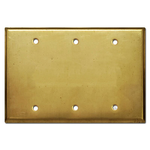 3 Blank Electrical Trim Plate - Raw Unfinished Brass