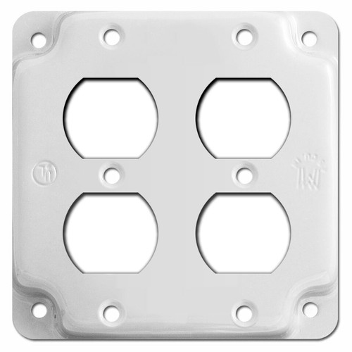 2 Duplex Outlet Utility Box Cover - White