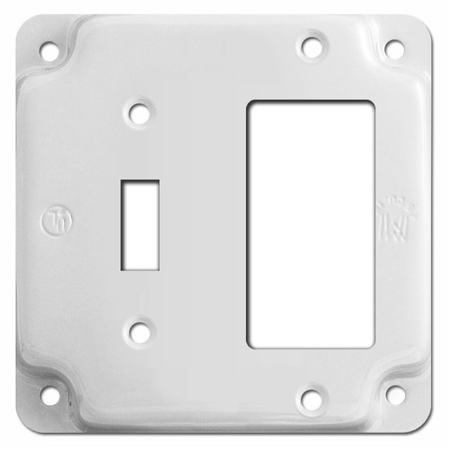 Raised Toggle Decora Outlet Utility Box Cover - White