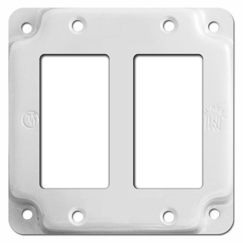 Raised 2 Decora Outlet Utility Box Cover - White
