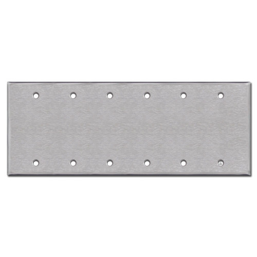 Six Blank Light Switch Wall Plate - Satin Stainless Steel