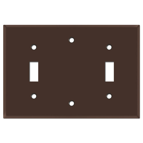 3-Gang Toggle Blank Toggle Wallplate - Brown