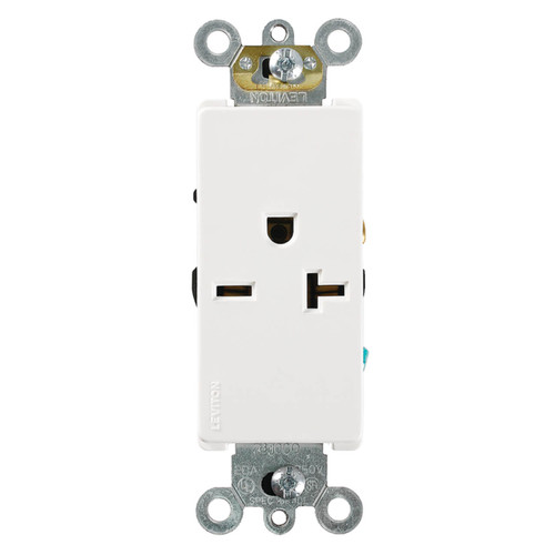 Decora 20A Single Receptacle Com. Spec. Grade Leviton - White