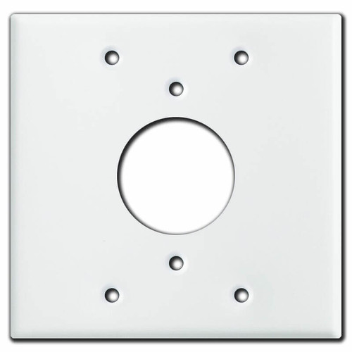 "Centered 1.62"" Twist Lock Outlet Cover for 2-Gang Box - White"