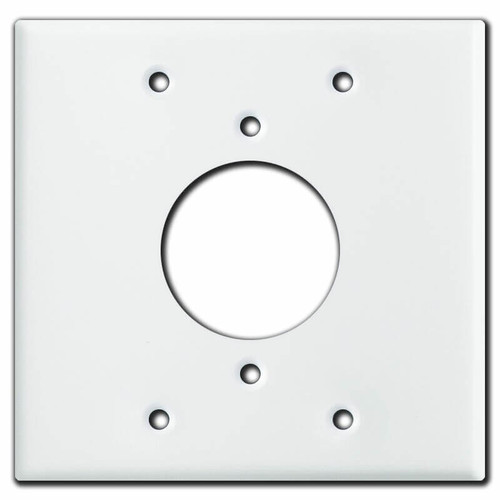 "Centered 1.73"" Twist Lock Receptacle Cover for 2-Gang Box - White"