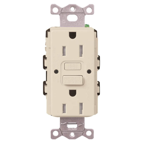 Lutron 15A Ground Fault Electrical Outlet TR Self Test - Light Almond