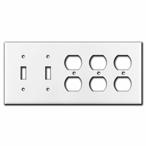 5-Gang 2-Toggle 3-Duplex Switch Plate - White