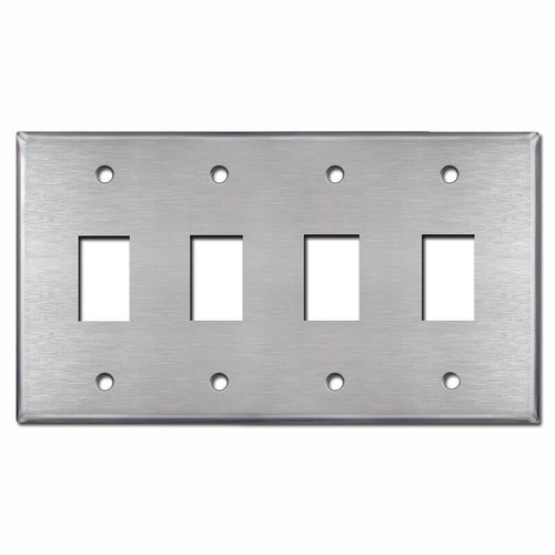 4 Gang New Style Vertical 1 GE Low Voltage Plate - Stainless Steel