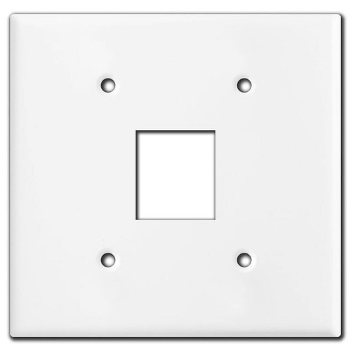 Double-Gang Center Snap-In Rocker Switch Wall Plate - White