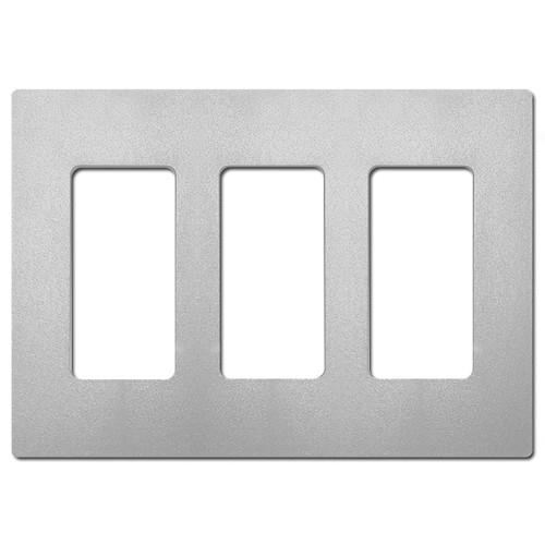 3 Port Screwless Decor Plate Lutron - Palladium Gray Satin Plastic