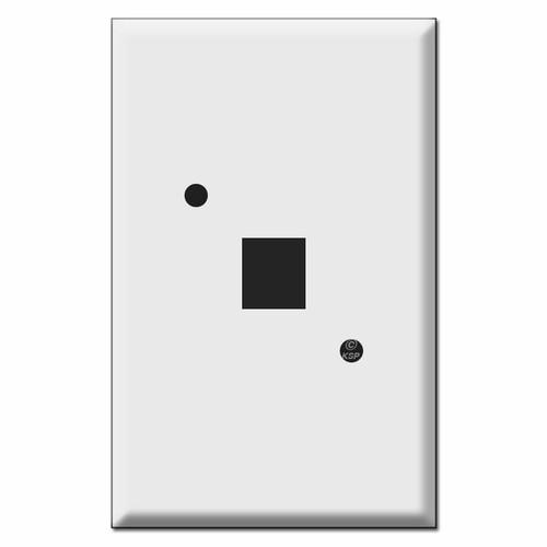 "Jumbo Phone Jack Cover for Round Box - 2.375"" Diagonal Holes"