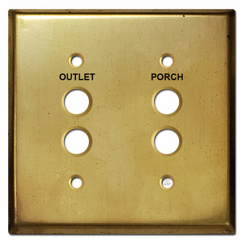Engraved 2 Push Button Switch Wall Plate in Unfinished Raw Brass - Approximation