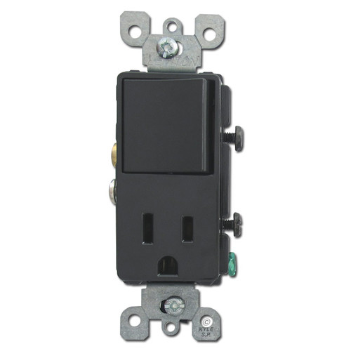 Black Combo Decora Rocker Switch and Outlet Leviton 5625-E