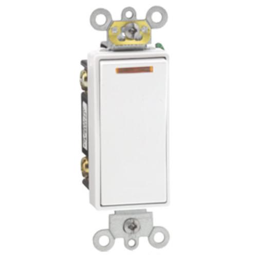 3 Way 20A Illuminated White Decora Rocker Switch - Lighted When Off