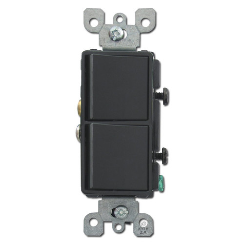 Black Leviton Double Decora Rocker Switch
