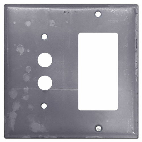1 Pushbutton 1 GFCI Outlet Covers - Paintable Raw Steel