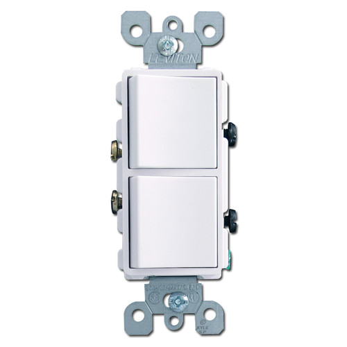 White Dual Single Pole Decora Rocker Switches