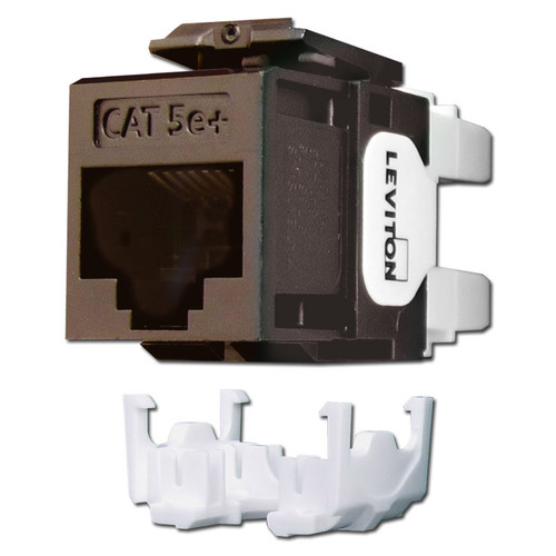 Brown Leviton GigaMax 5e+ Ethernet Jack for QuickPort Frame