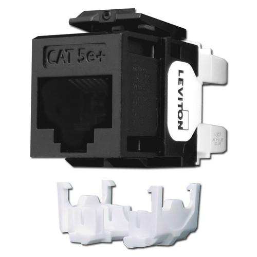 Black Leviton GigaMax 5e+ Ethernet Jack for QuickPort Frame