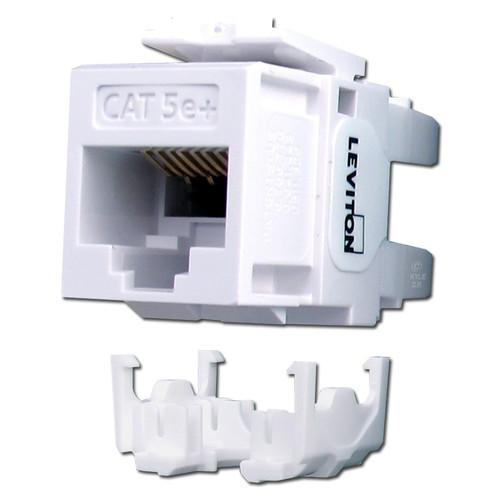 White Leviton GigaMax 5e+ Ethernet Jack for QuickPort Frame
