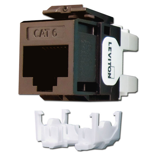 Brown Leviton Cat 6+ Ethernet Jack for QuickPort Frame