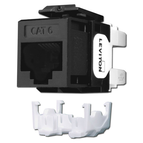 Black Cat 6+ Ethernet Jack for Leviton QuickPort Frame